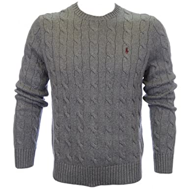 72ce20e94587 Polo Ralph Lauren Mens Roving Crew Neck Cable Cotton Knitted Sweater jumper  Grey F19 (XXL