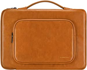 Comfyable Protective Laptop Sleeve for 13-14 Inch Laptop HP Dell Lenovo Thinkpad ASUS ACER Computer Chromebook, Laptop Briefcase, PU Leather Pocket Handle Bag Waterproof Cover Case, Brown