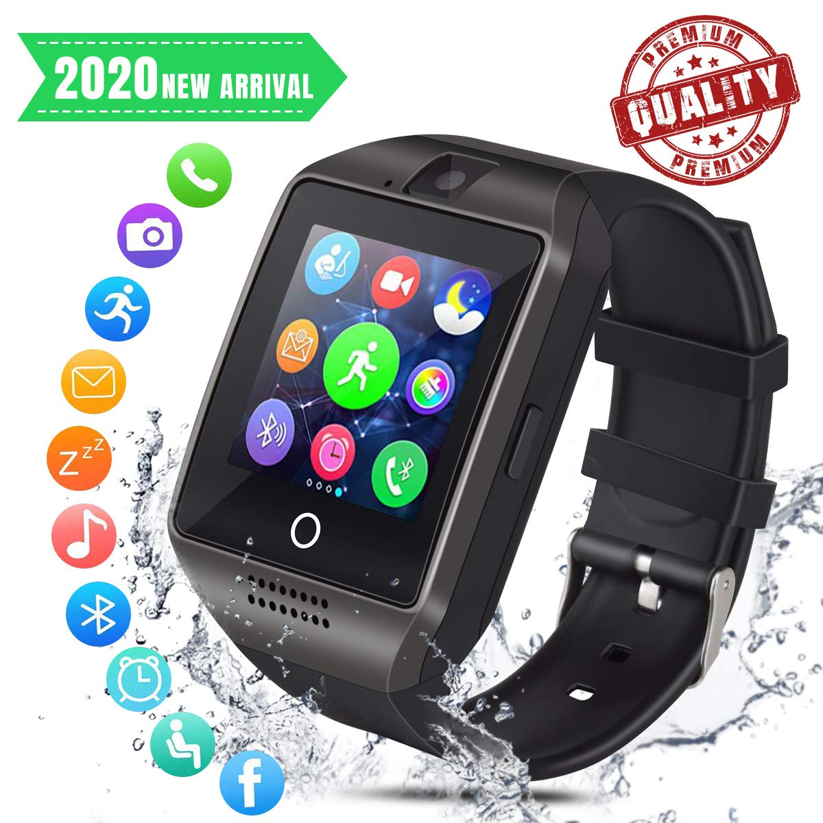 Smartwatch Bluetooth Hombre Reloj Inteligente con Whatsapp Smartwatches con Cámara Pantalla Táctil para Tarjeta SIM Smart Watch Telefono Sport ...