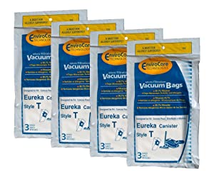12 Eureka T Allergy Canister Vacuum Bags, Canister Series 970, 972 Vacuum Cleaners, 61555-12, 970A, 972A,