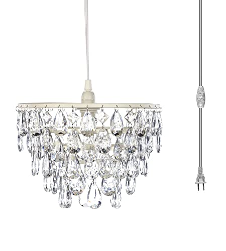 The Original Gypsy Color One Light Dome Chandelier Plug-in Pendant or Hanging Lamp with Five Tiers of Crystals H10 W11.5 , White Metal Frame with Clear Poly-Carbonate Crystals