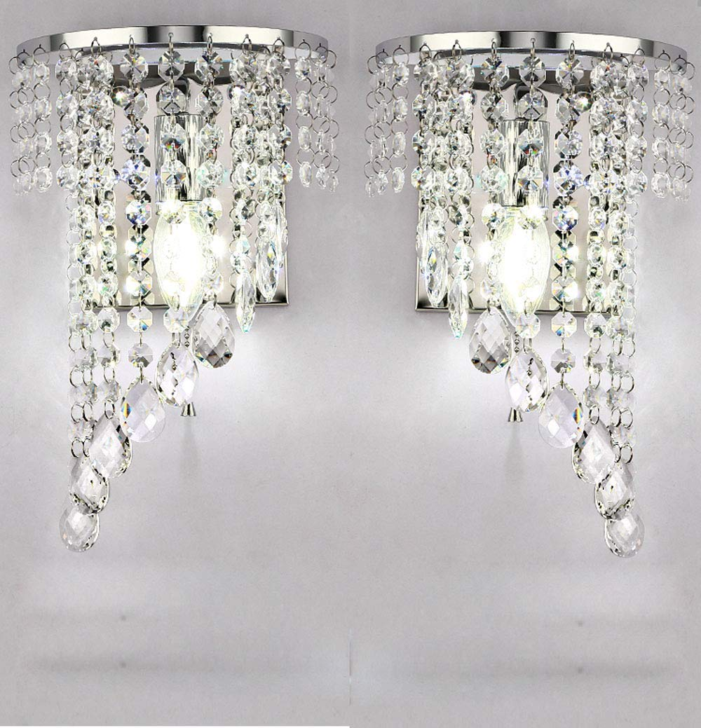 WEERUN A Pair Left /& Right 2Pcs E12 Modern K9 Crystal Mirror Stainless Steel Wall Lights Wall Lamps Sconce Night Light Lamps Fixtures Lights with Switch for Hallway Bedside Living Room