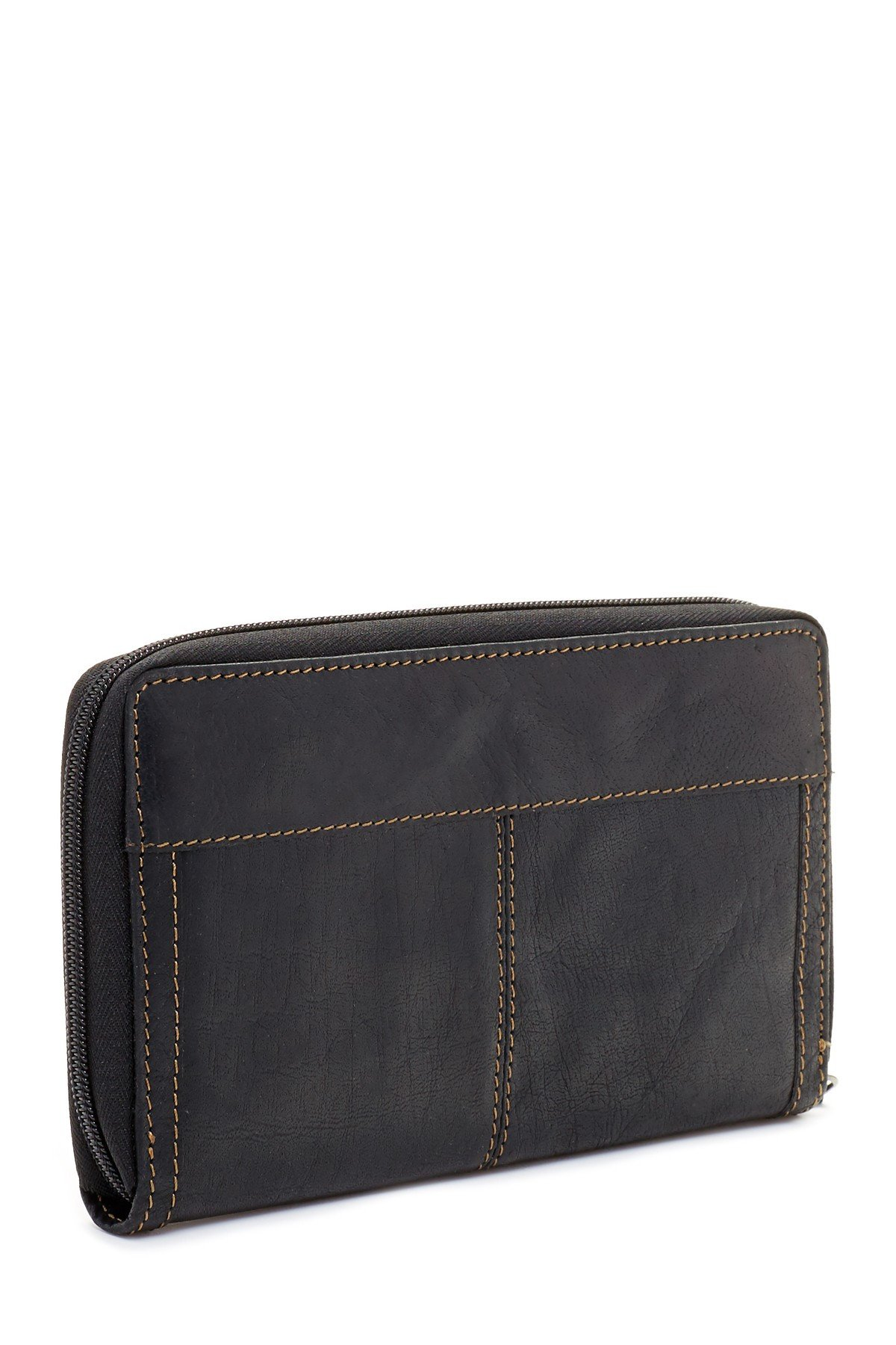 Jack Georges Voyager Large Zip-Around Leather Travel Wallet in Black