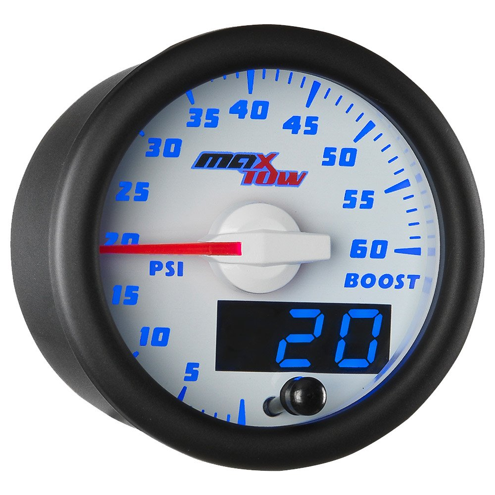 MaxTow Double Vision 60 PSI Turbo Boost Gauge Kit - Includes Electronic Pressure Sensor - White Gauge Face - Blue LED Illuminated Dial - Analog & Digital Readouts - for Diesel Trucks - 2-1/16'' 52mm