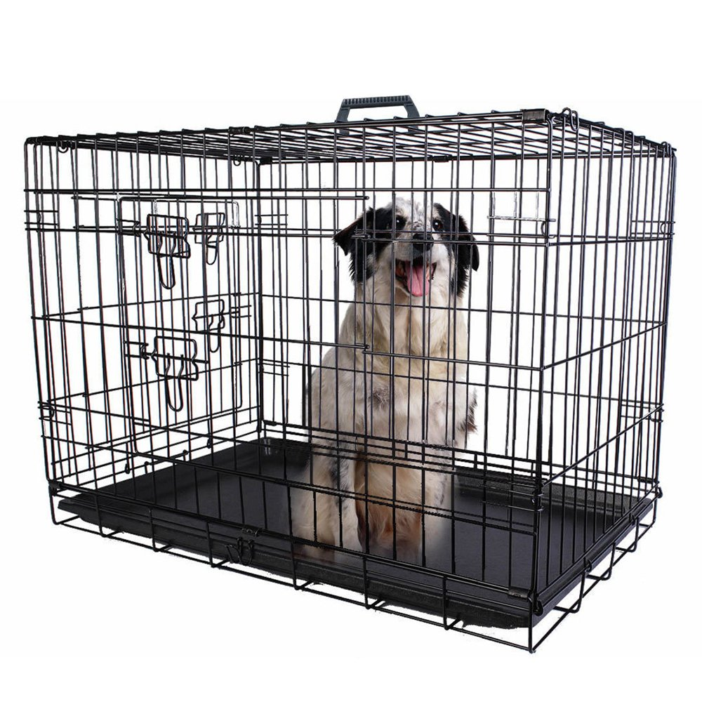 Pet Kennel Cat Dog Folding Steel Crate Animal Playpen Wire Metal Cage Black (24'')