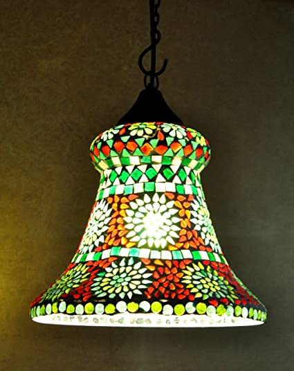 Indian Vintage Ceiling Lamp Green Colour Glass Hanging Lamp