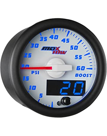 MaxTow Double Vision 60 PSI Turbo Boost Gauge Kit - Includes Electronic Pressure Sensor - White