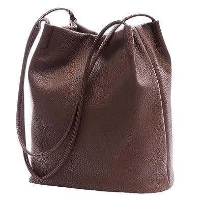 89b59d98783586 Ichic Boutique Eimer Tasche Damen Handtasche Leder Schultertasche  Umhängetaschen Beutel,Braun