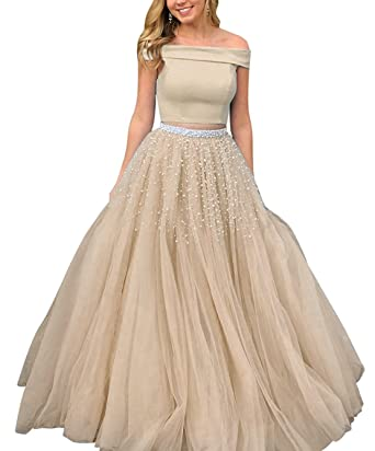 LeoGirl Womens Pearls Beaded Two Piece Long Prom Dresses with Off Shoulder Top Quinceanera Sweet 16