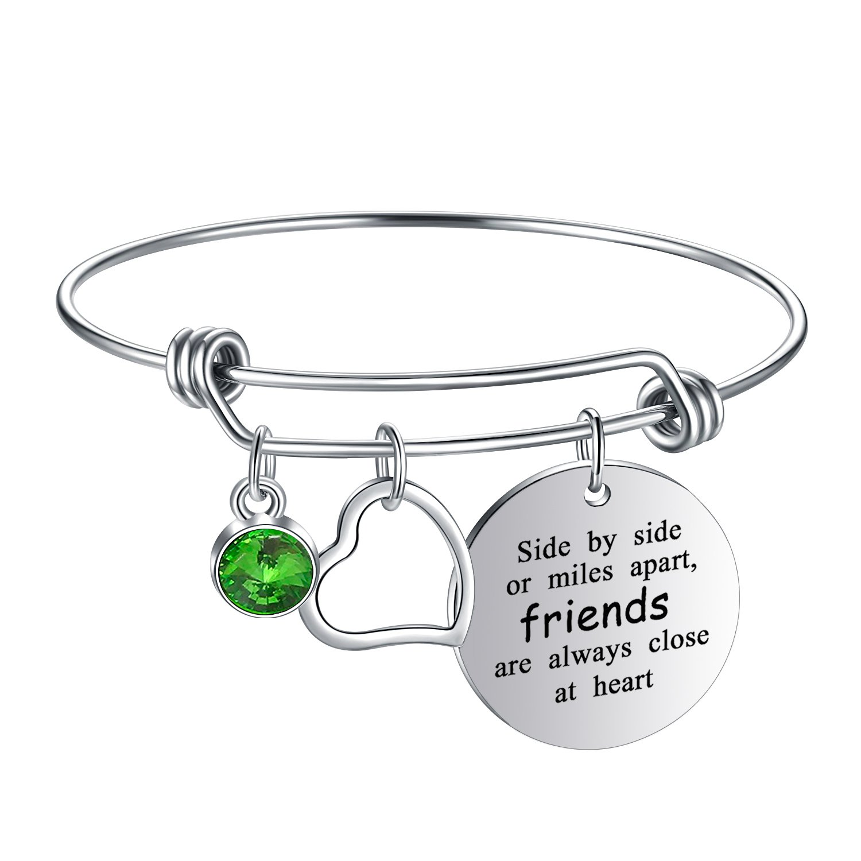 Yoomarket ''Side by side or miles apart Birthstone Adjustable Charm Bangle Bracelet Stainless Steel Women Jewelry Birthday Girls Gifts (08-Aug.-Peridot)