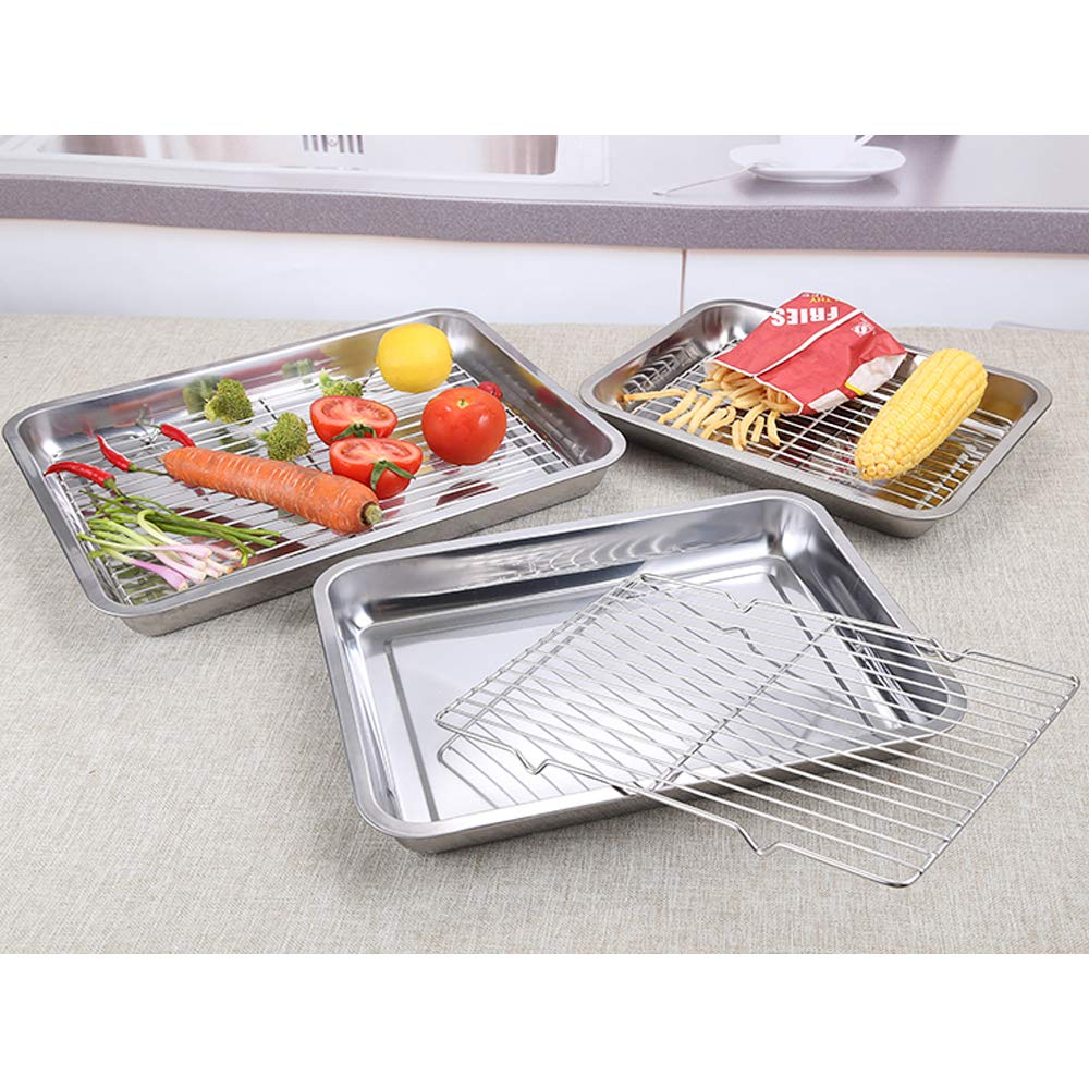 Disumos Baking Sheet with Rack Set Stainless Steel Baking Pan and Cooling Rack Rectangle Baking Pans Tray Sheet with Cooling Rack - Pack of 4 (2 Sheets + 2 Racks)