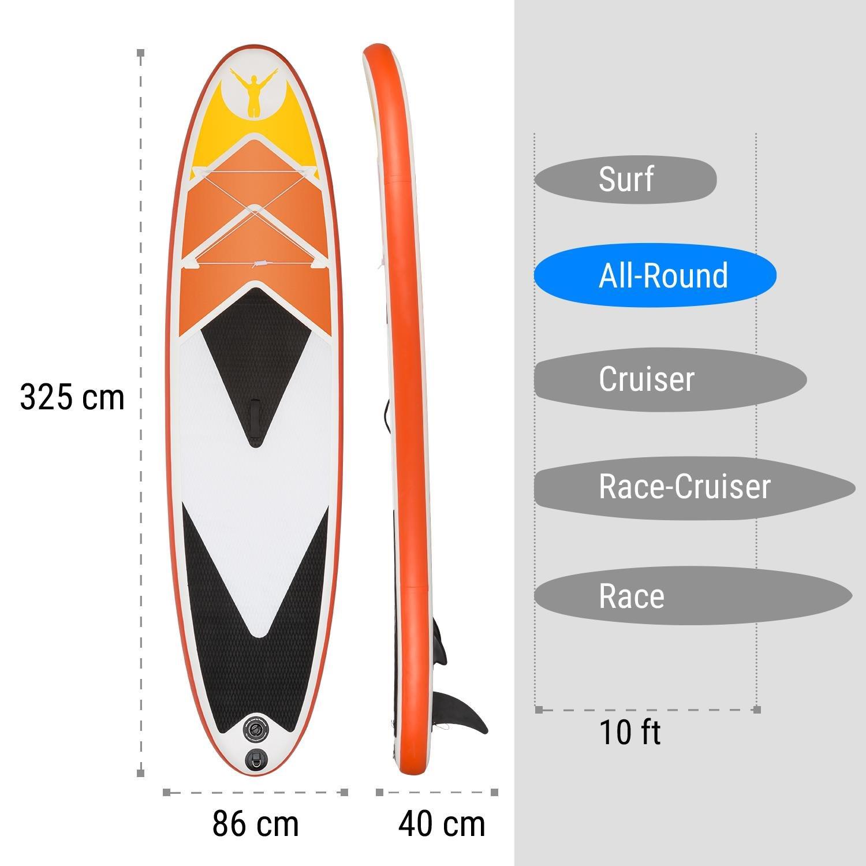 KLARFIT Spreestar 325 Tabla de pie hinchable • Paddleboard • Paddle surf • Tabla SUP 325x15x86 cm • Bomba de aire • Pala • Correa de seguridad • Mochila ...