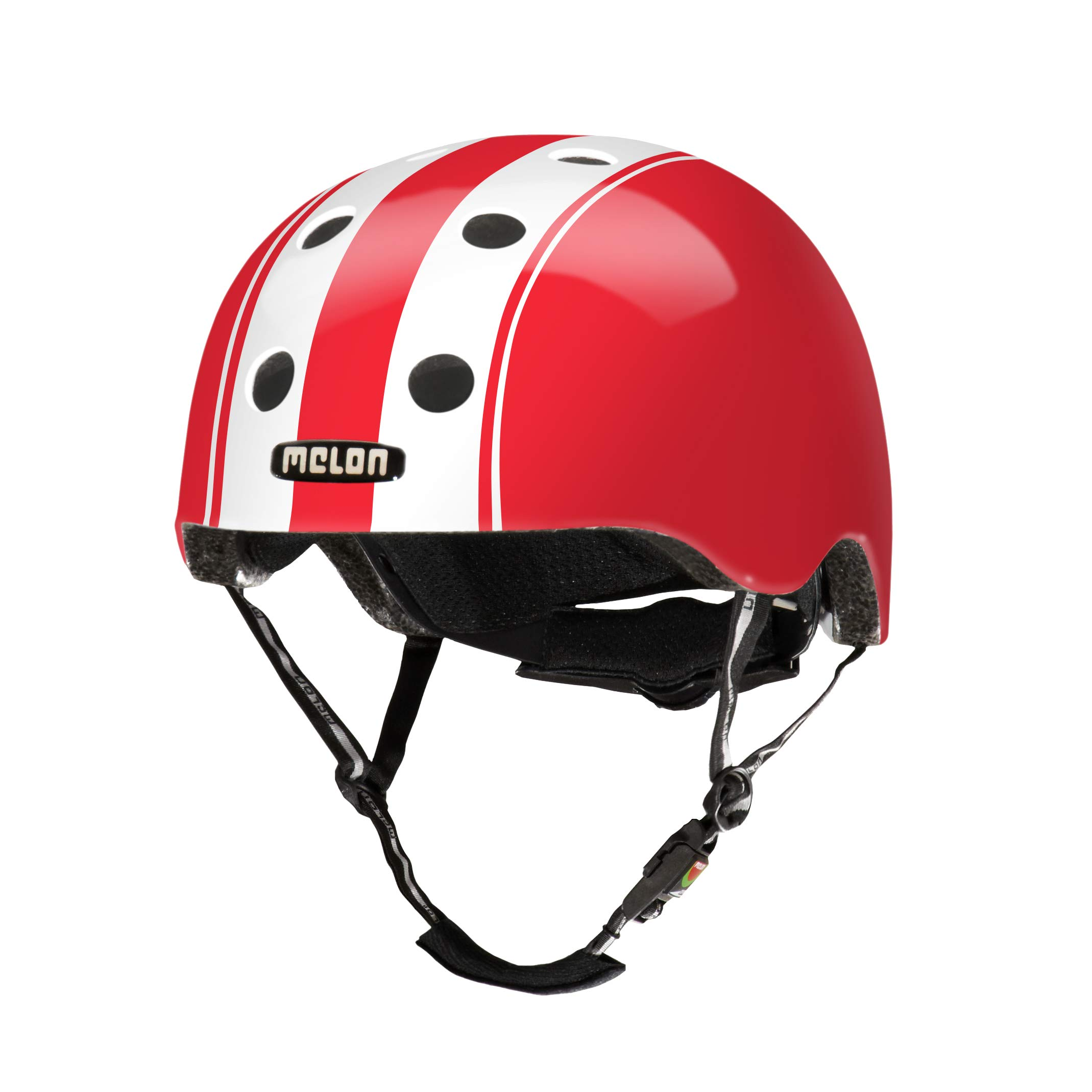 Melon Double White Red Helmet, Red/White, Glossy Finish, Small, 46 - 52cm / 18.25 - 20.5in Head Size