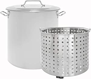 CONCORD Stainless Steel Stock Pot w/Steamer Basket. Cookware great for boiling and steaming (60 Quart)