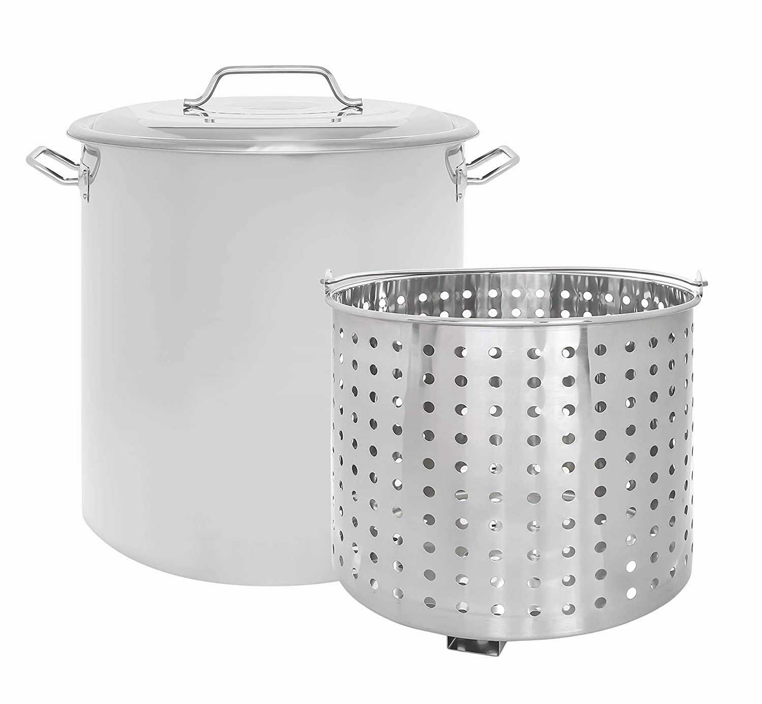 CONCORD Stainless Steel Stock Pot w/Steamer Basket. Cookware great for boiling and steaming (120 Quart)