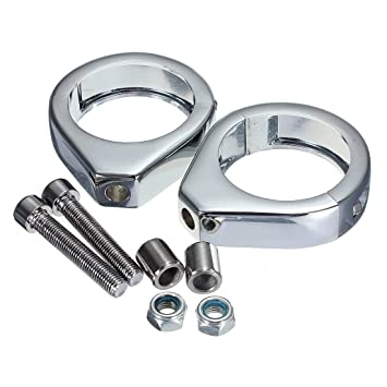 Pair 49mm Chrome Turn Signal Light Relocation Fork Clamps For Harley