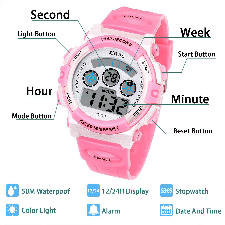 Reloj Digital para Niños,Niños Niñas 50M (5ATM) Impermeable 7 Colores LED Relojes Deportivos Multifuncionales para Exteriores con Alarma (Rosa): Amazon.es: ...
