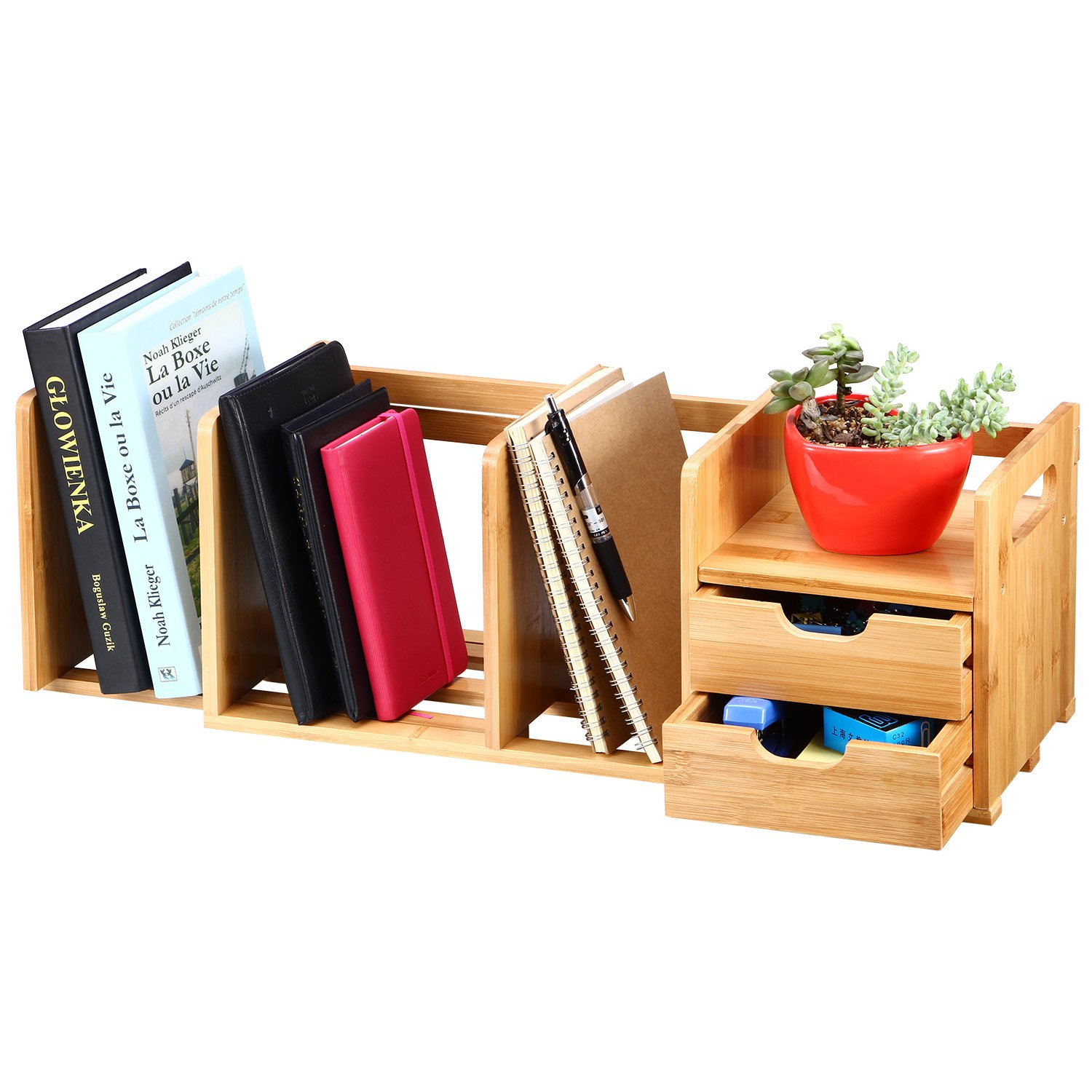 Olive Bamboo Desk Organizer Expandable Book & File Shelves, Office Storage Rack Bookshelf with 2 Drawers by Olive