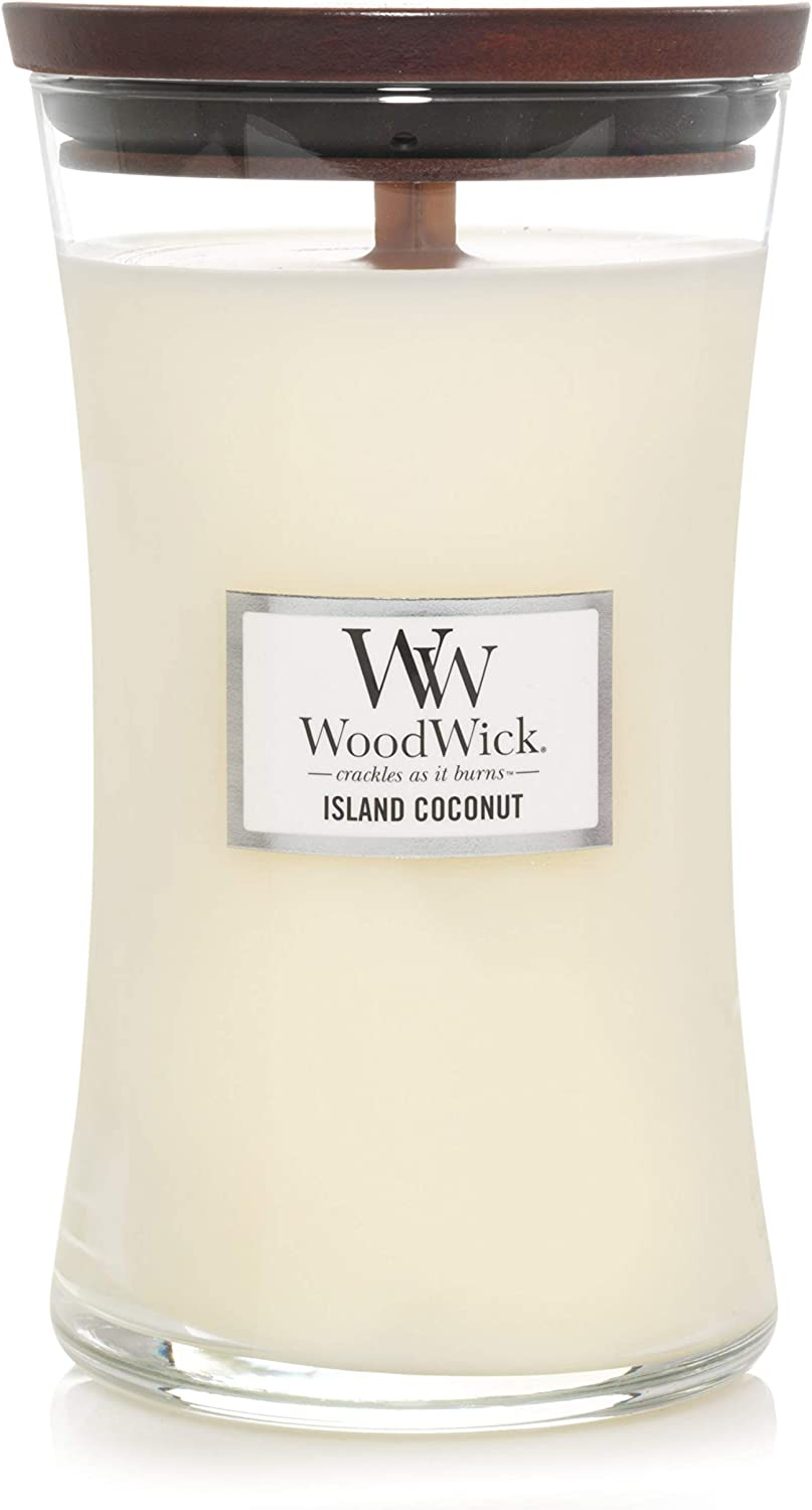 WoodWick Large Hourglass Scented Candle, Island Coconut