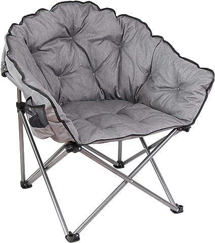 macsports c932s 129 padded cushion outdoor folding lounge patio club chair gray