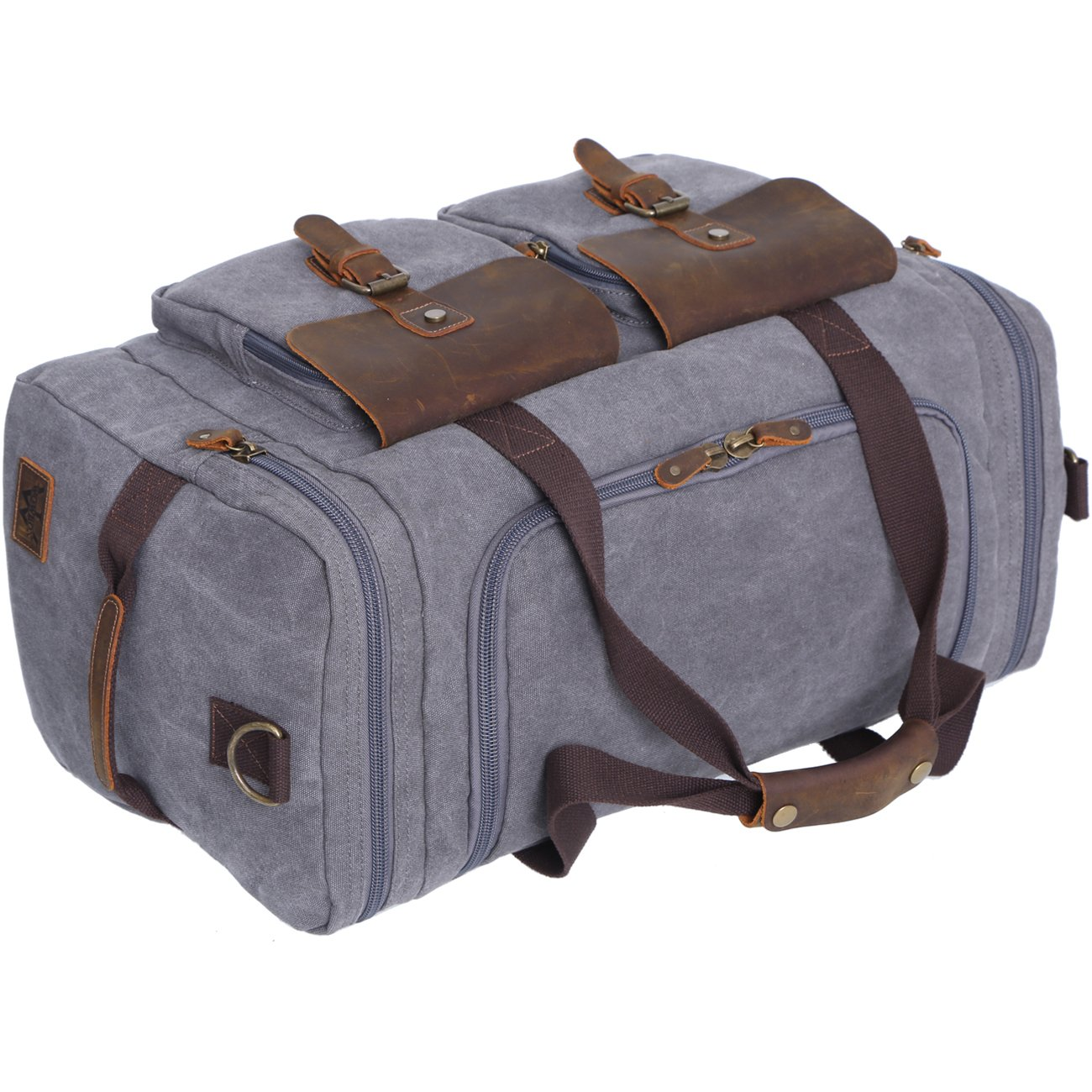 0e6e583f75 WOWBOX Duffle Bag Weekender Bag for Men Genuine Leather Canvas Travel  Overnight Carry on Bag with