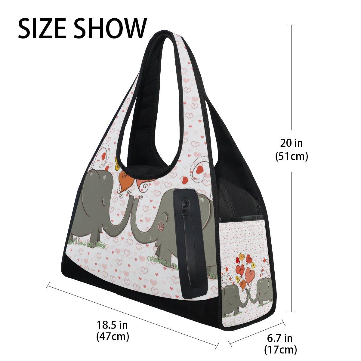 AHOMY Sports Gym Bag Elephant Love Heart Duffel Bag Travel Shoulder Bag by AHOMY (Image #4)