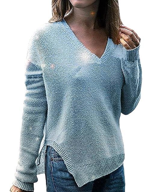 Mujer Sudaderas Otoño Invierno Manga Larga V-Cuello Suéter Abiertas Irregular Pullover Elegantes Moda Ropa Casual Unicolor Jumper Sweater: Amazon.es: Ropa y ...