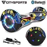 CITYSPORTS Patinete Eléctrico Hover 6.5 Pulgadas Board, Self Balancing Scooter, Ruedas de Led Luces, Bluetooth, Motor 700W