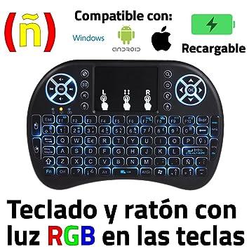 Unicview Mini Teclado y Raton inalambrico para Android Box, proyector, Compatible con Android, Windows, iPhone, iPad, RGB Retro Iluminado, ...
