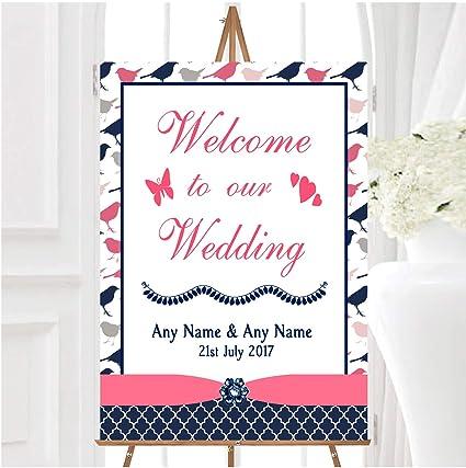Cartel de bienvenida para boda, diseño de pájaros, color ...
