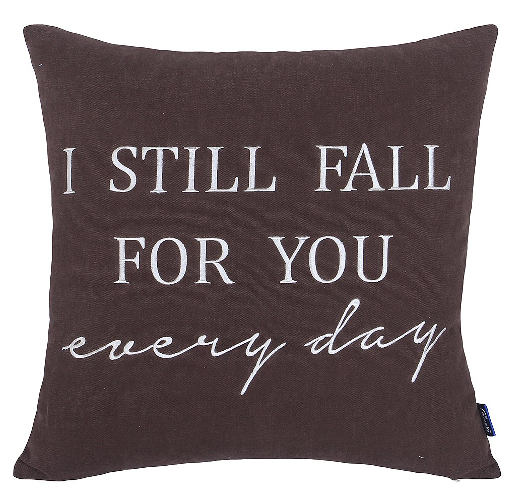 DecorHouzz Pillow cover Romantic Love Quote Embroidered Throw Pillowcase for Couple Valentine Anniversary Wedding Gift (18''x18'', I still fall (Coffee)) by EURASIA DECOR