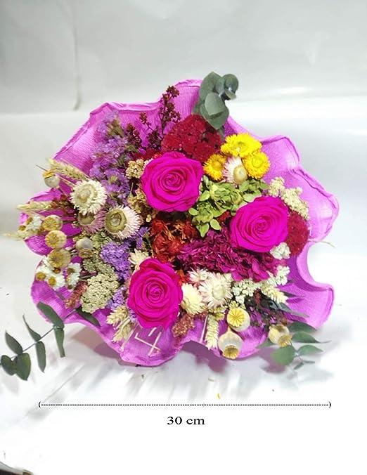 almaflor Ramo de Rosas eternas Fucsia y Flores preservadas. Gratis ...