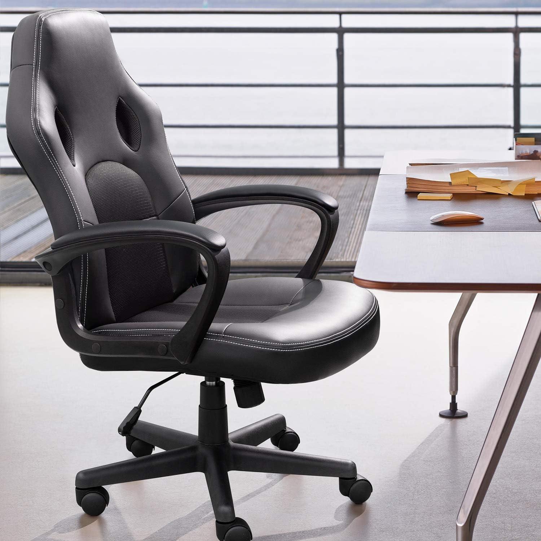 High Back Ergonomic Adjustable Racing Chair,Task Swivel Executive Computer Chair Headrest and Lumbar Support (Black)