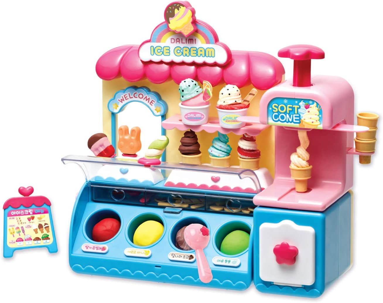 Dalimi TOYTRON, Ice Cream Store Set for Kids. Pretend Toys with Modeling Clay to Shape and decorates Ice Creams. Play Food Toys for Toddlers from Ages 3 Years and Up.
