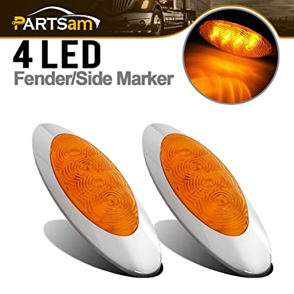 Partsam 2Pcs 6-5/8 Inch Oval Amber Led Side Marker Lights 4 Diode Sealed  Chrome w Bullet Plugs Waterproof Replacement for
