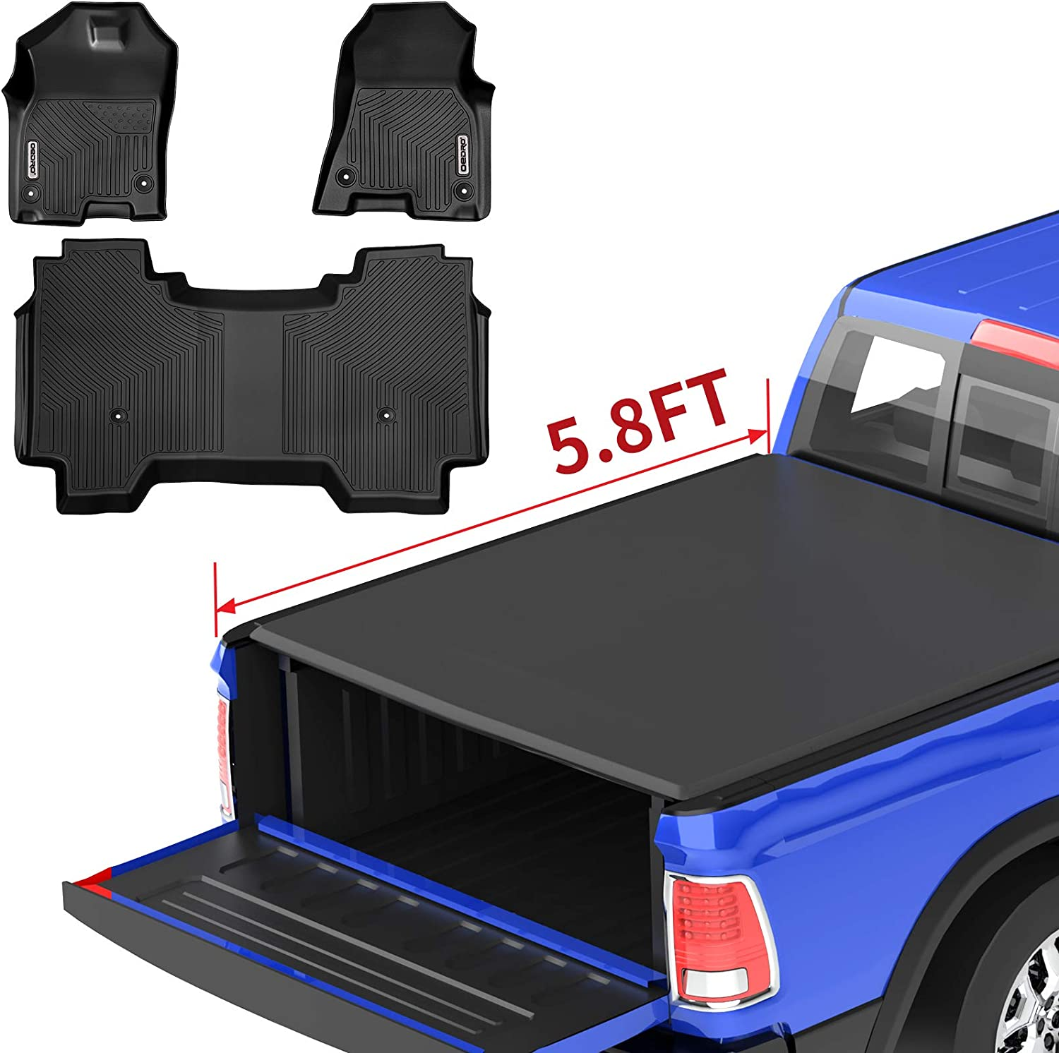 Amazon Com Oedro Roll Up Truck Bed Tonneau Cover Floor Mats Custom Fit For Dodge Ram 1500 All Weather Guard Tpe Material Automotive