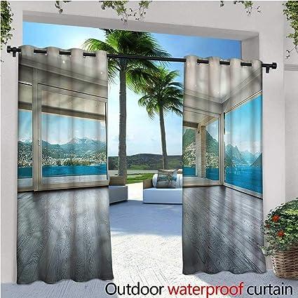 Amazon.com : warmfamily Landscape Balcony Curtains Ocean ...