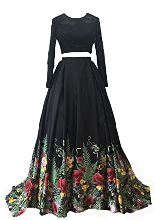 BRLMALL Womens Printed Prom Dresses Black Long Sleeves Two Piece Lace Evening Dress