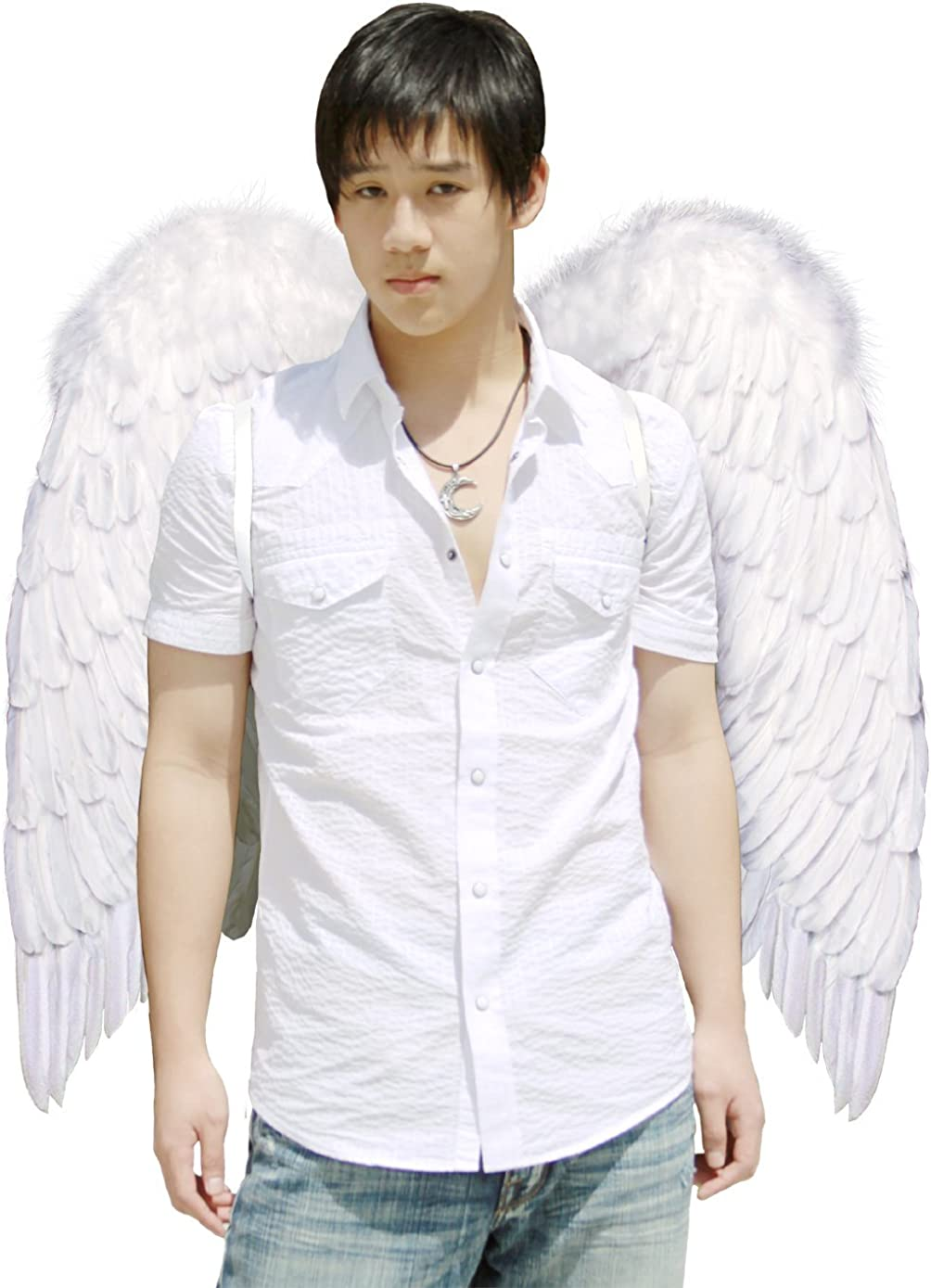 FashionWings (TM Archangel XL White Costume Feather Wings & Halo Adults Unisex