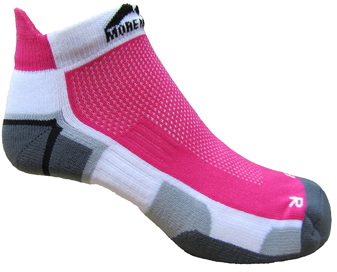 More Mile Damen kurze gepolsterte Laufsocken MIAMI MM1704 Weiß/Pink