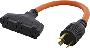 AC WORKS L5-30 30Amp 3-Prong Locking Generator Distribution Cord (1.5FT L5-30 to Tri-Household Flexible)