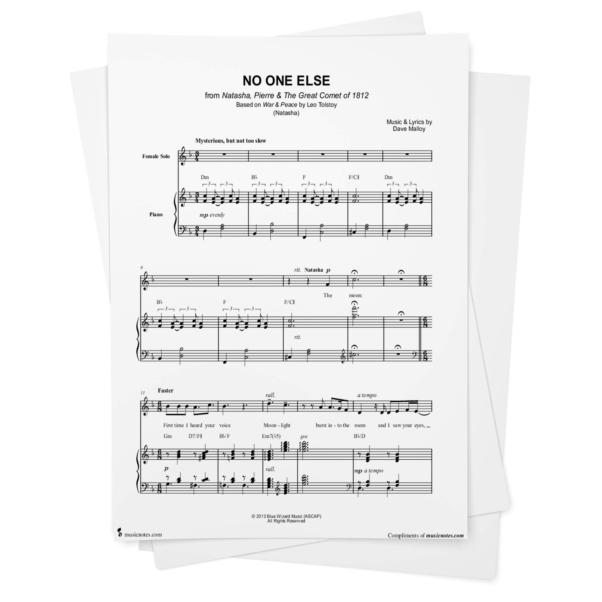 No One Else Sheet Music from Natasha Pierre & the Great Comet of ...