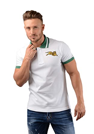 73a8b5bd6a67 5PO037 Jumping Tiger Polo in White at Amazon Men's Clothing store: