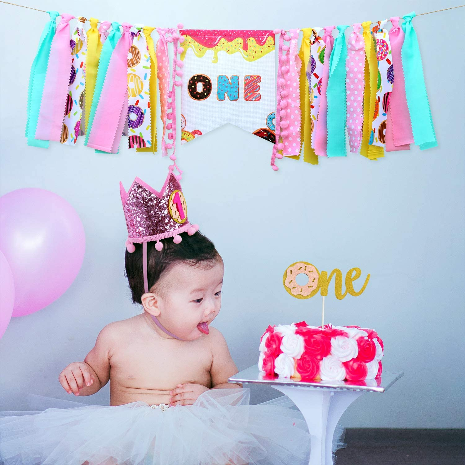 Cake Topper and Blue Hat Crown for First Birthday Party Supplies 1st Birthday Boy Decorations with Burlap Highchair Banner