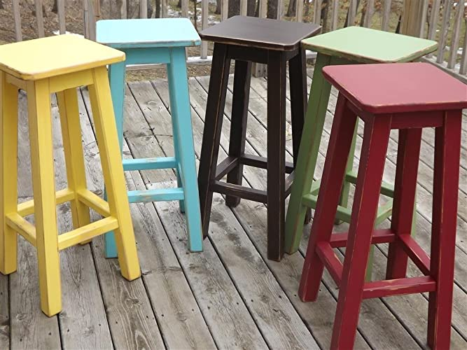 amazon com painted bar stool counter stool wood distressed