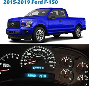 Partsam Speedometer Indicator LED Light Kit Instrument Panel Gauge Cluster Dashboard LED Light Bulbs Compatible with Ford F-150 2015 2016 2017 2018 2019 - White 10Pcs