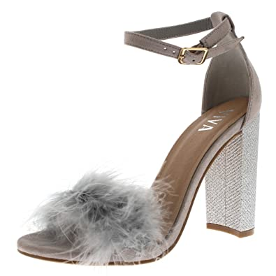 749f2fa1e30 Viva Womens Evening Block Heel Fashion Cut Out Party High Heels Fluffy Pumps