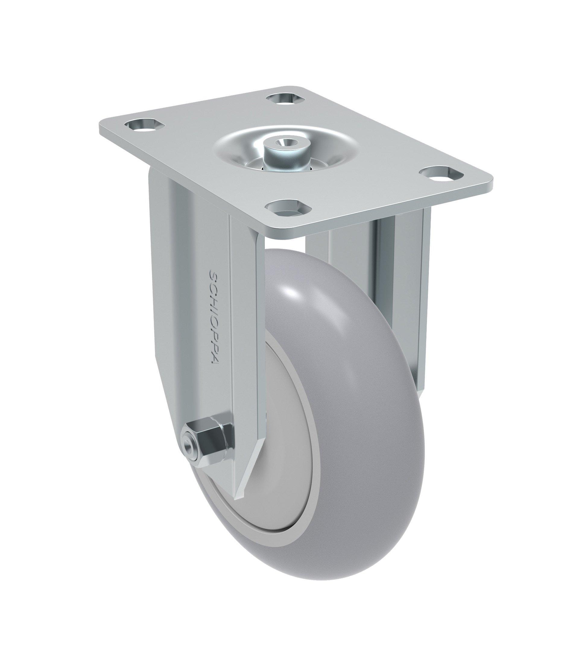 Schioppa FLA 412 SPE - Flat Tread L12 Series 4'' x 1-1/4'' Diameter Rigid Caster, Non-Marking Extra Soft Thermoplastic Rubber Precision Ball Bearing Wheel, Plate 3-3/4'' x 2-1/2'' (Bolt Holes 3'' x 1-3/4''), 185 lb by Schioppa (Image #1)