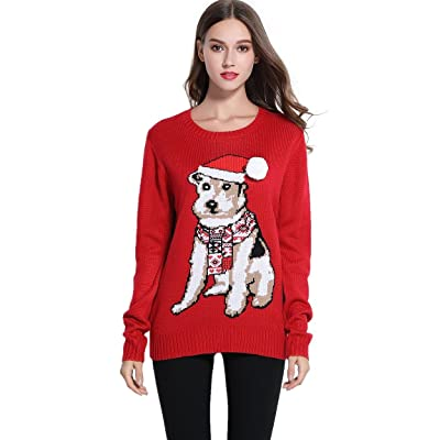 *daisysboutique* Women's Christmas Cute Puppy Dog Print Knitted Sweater Girl Pullover (X Large, Red) at Amazon Women's Clothing store