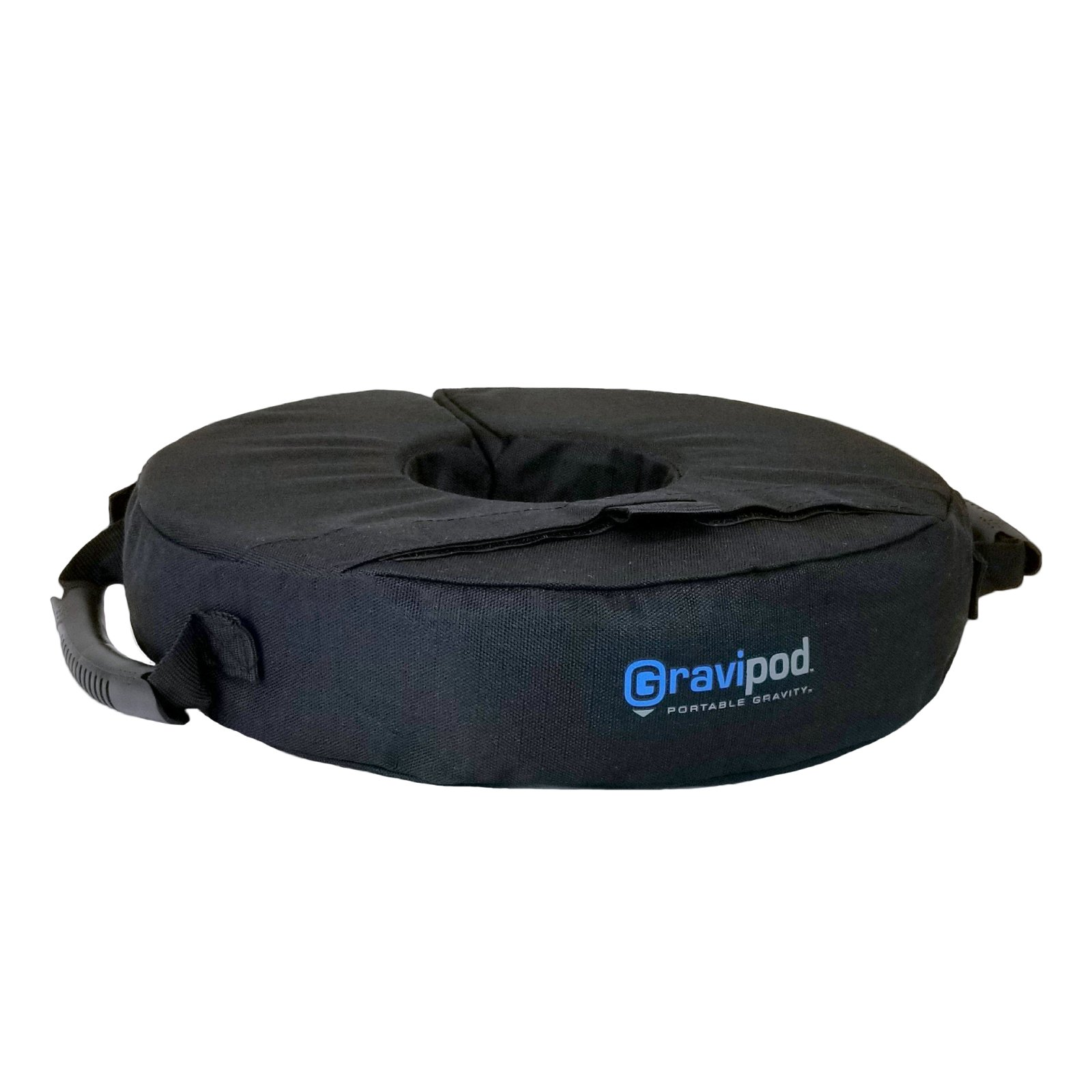 """Gravipod Mini Base Weight Bag, 14"""" Round~Versatile support with split-ring opening and ergonomic handles for any pole, post, stand, AV equipment, or floor lamp~Industrial Ballistic Ripstop Polyester"""